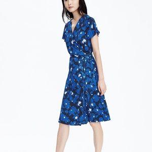 Banana Republic blue Floral Midi Wrap Dress